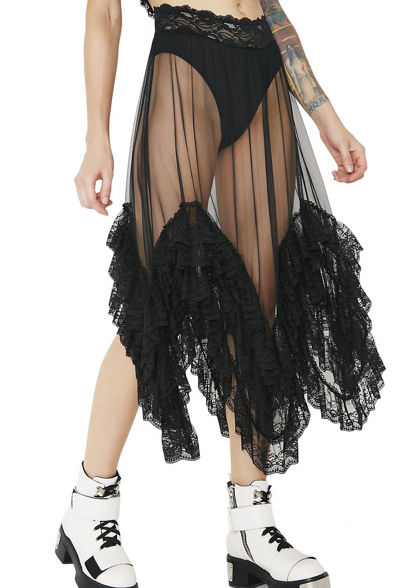 Current Mood Midnight Clementine Sheer Ruffled Skirt
