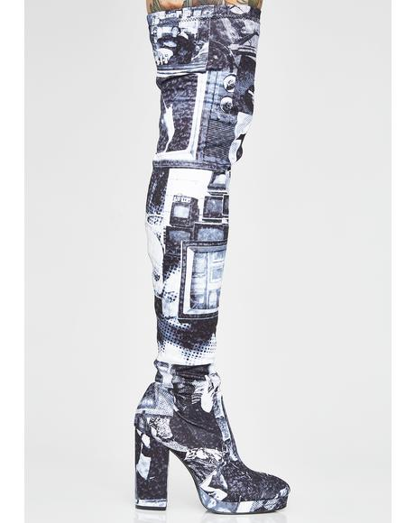 TV Static Thigh High Boots