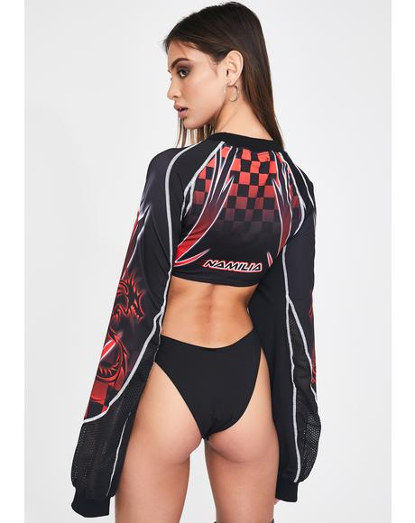 1-800-U-Wish Red Racing Bodysuit