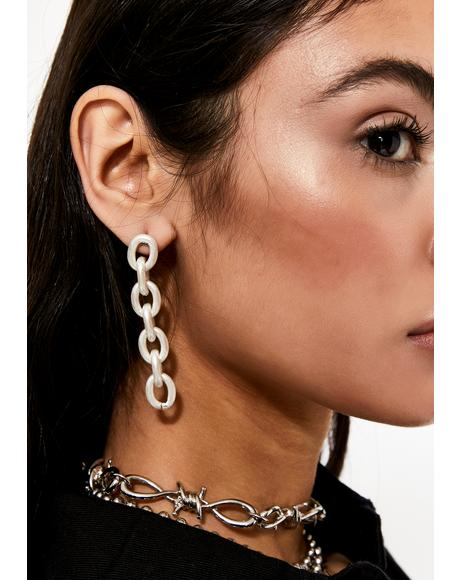 Chain Hang Low Drop Earrings