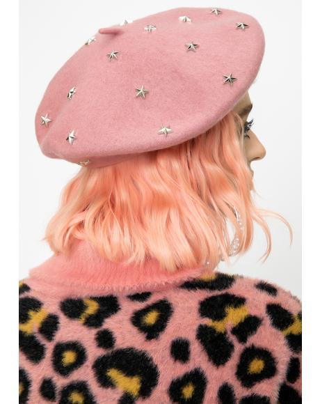 Mauve Count The Stars Felt Beret