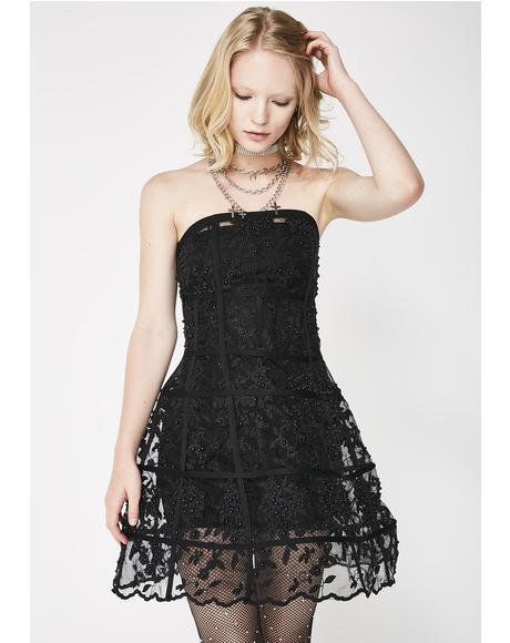 Dark Revenge Floral Cage Dress