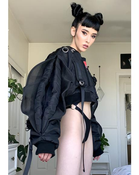 Vulva Sleeve Cropped Bomber Jacket