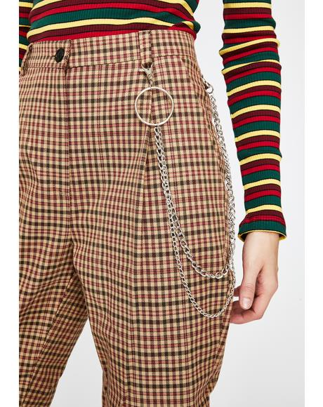 Emily Plaid Trousers With Chain
