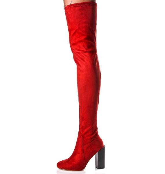 Burnt Confessions Thigh-High Boots