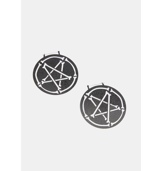 Too Fast Pent-A-Bones Black Oversized Hoop Earrings