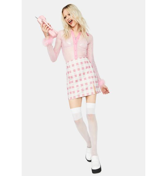 Sweet Off The Record Gingham Mini Skirt