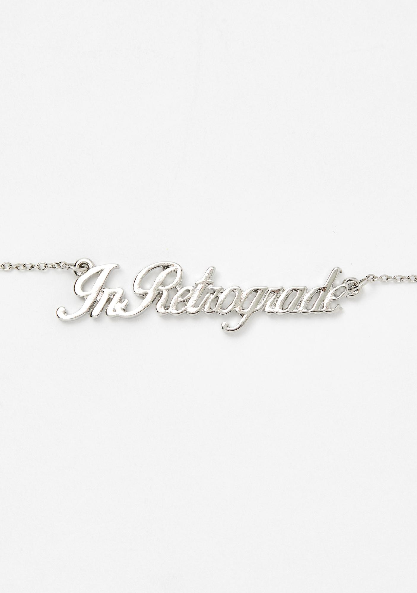 In Retrograde Nameplate Necklace