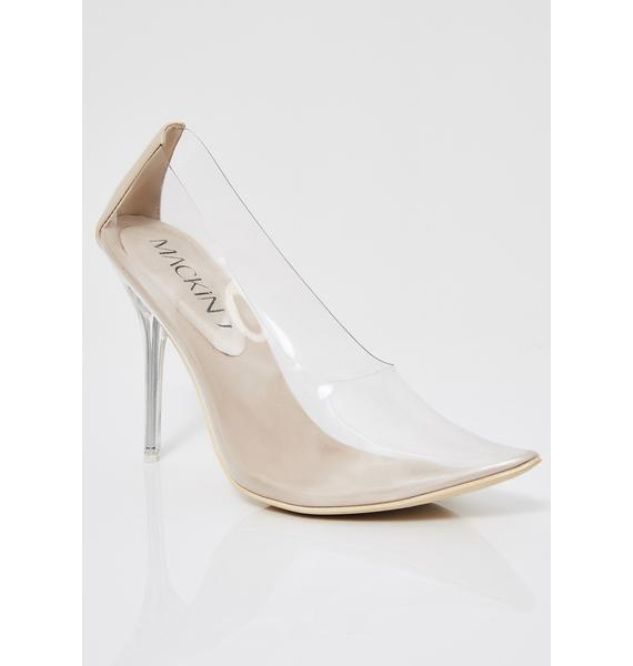 Nude Got Their Attention Clear Pumps