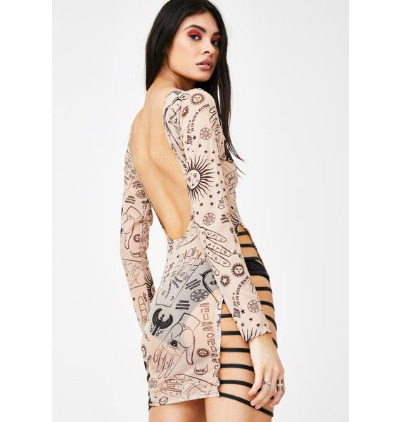 Jaded London Hands Print Mesh Mini Dress