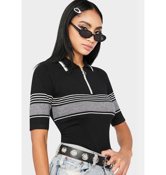 Awaken Stripe Quarter Zip T-Shirt