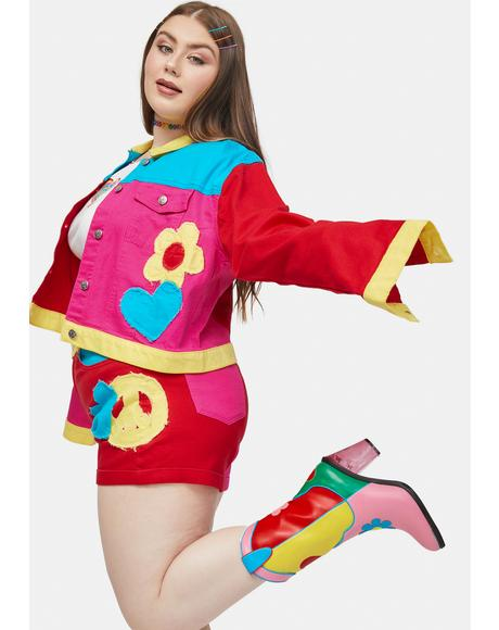 Her Free Luv Nation Colorblocked Applique Twill Shorts