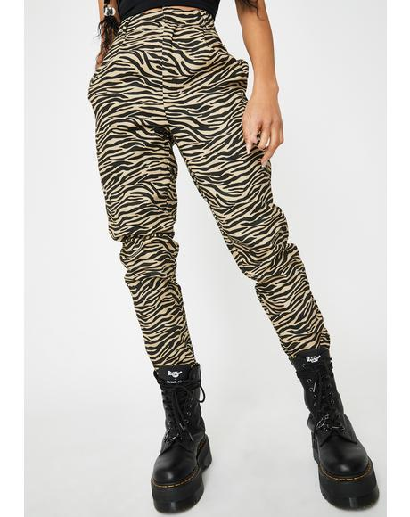 Tapered Zebra Print Pants