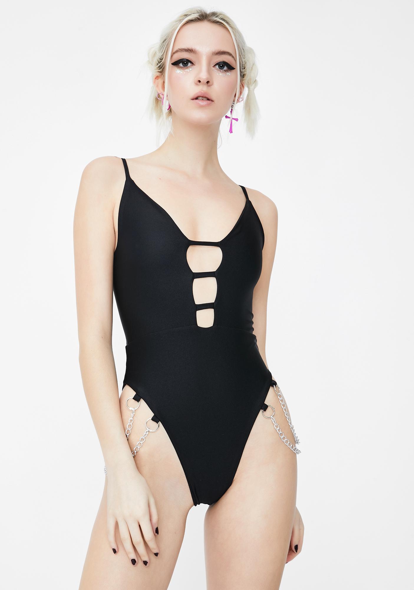 Soulan Zee Jet Black Maya Cut-Out Bodysuit
