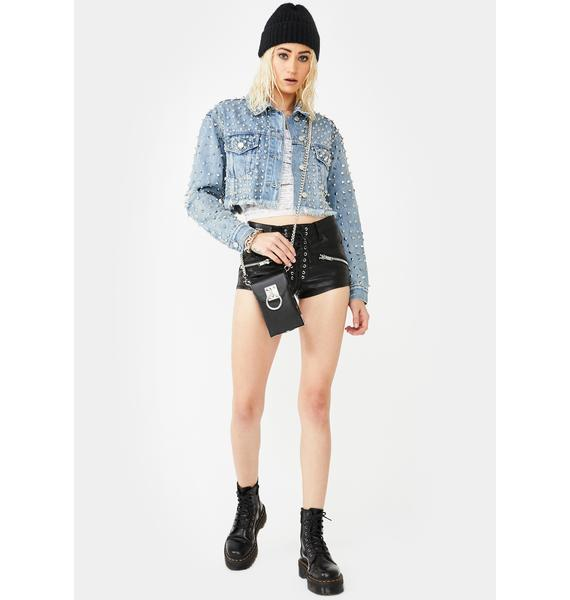 AZALEA WANG Rockstar All Ova Studded Denim Jacket