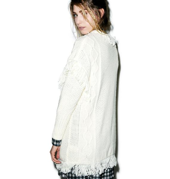Glamorous On The Fringe Cable Cardigan