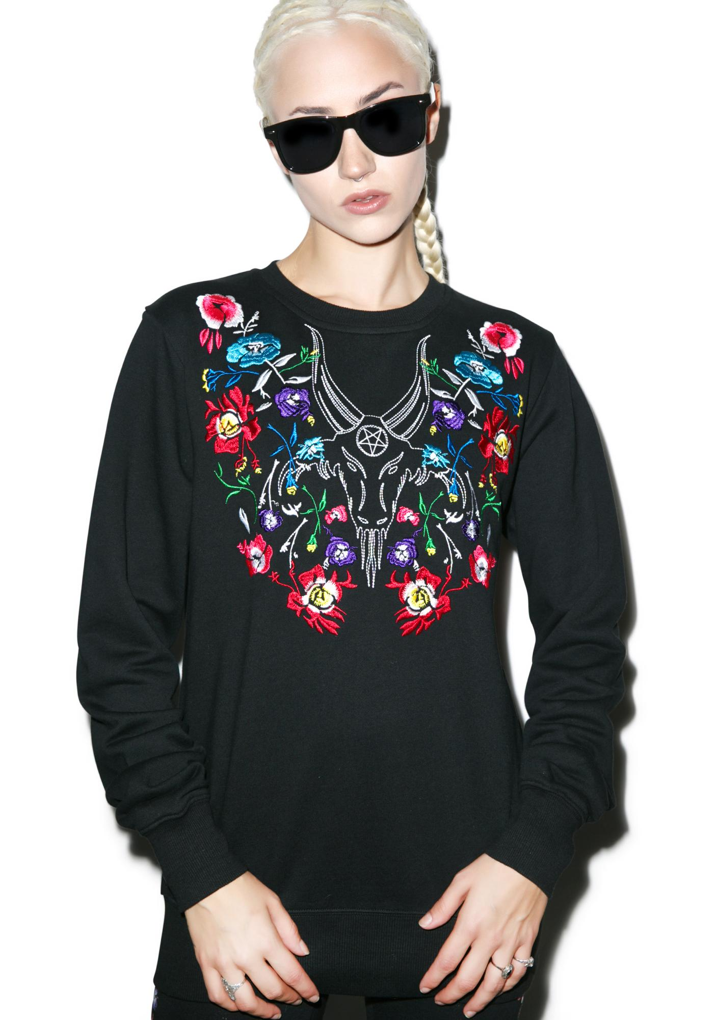 Black Scale Elegance In Evil Crewneck