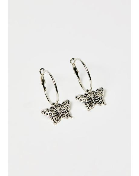 Butterfly Bish Hoop Earrings
