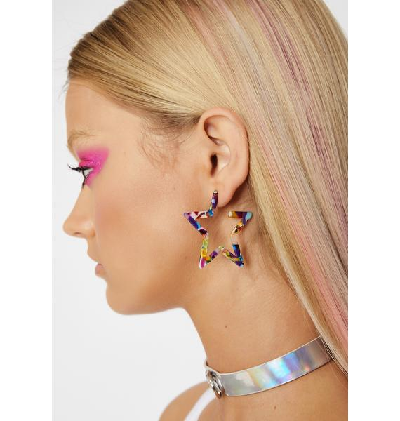 Chromatic Galaxy Star Earrings