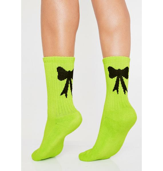 Lazy Oaf Neon Bow Socks