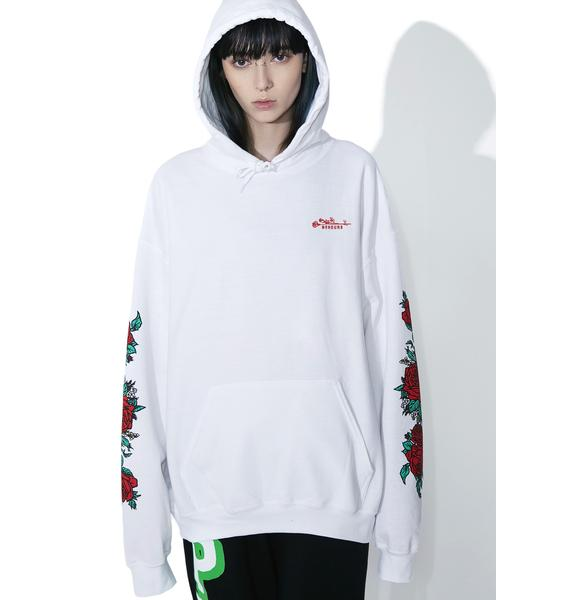 No Hours Rose Pattern Hoodie