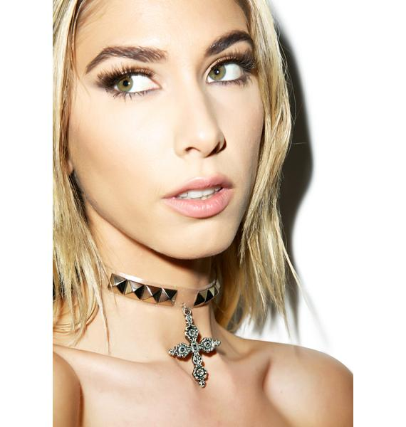 Blessings Studded Cross Choker