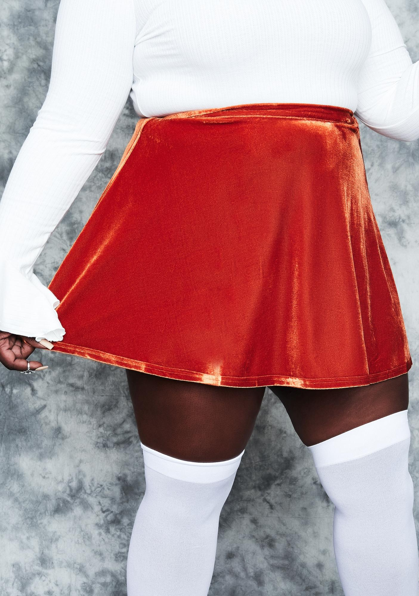 dELiA*s by Dolls Kill Real History Repeating Velvet Mini Skirt
