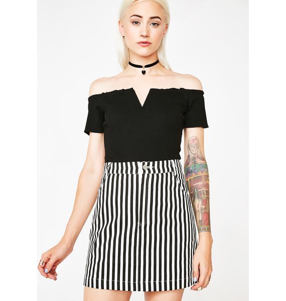 Jailbait Striped Mini Skirt
