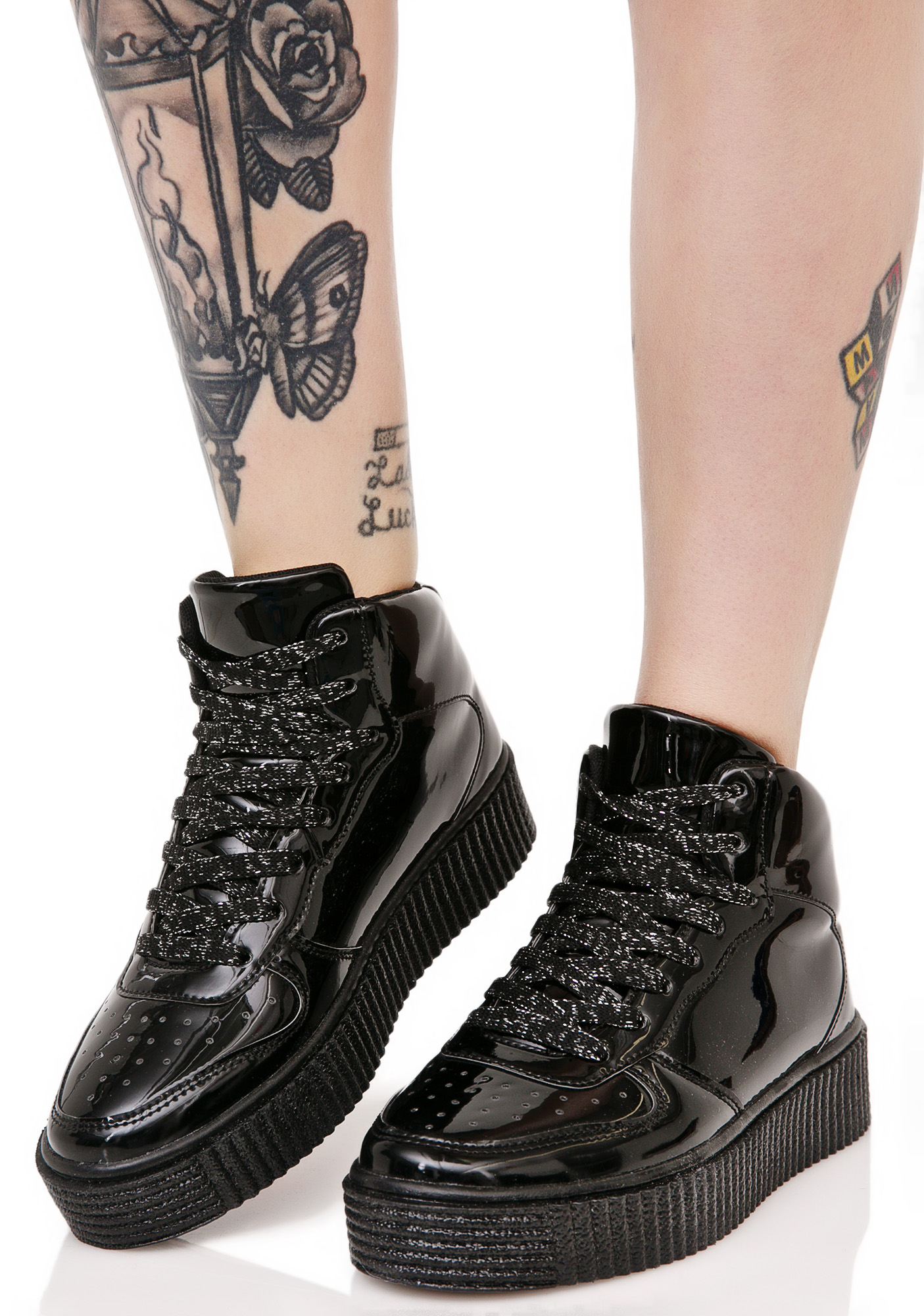 Metallic Black Creeper Sneakers