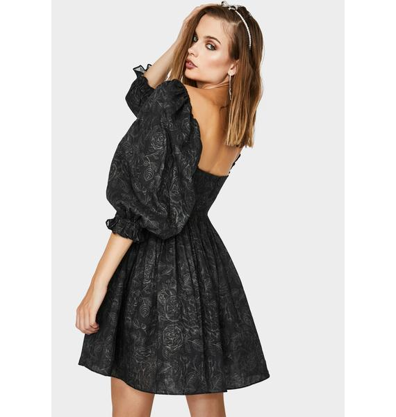 Selkie Charcoal Flowers Puff Dress