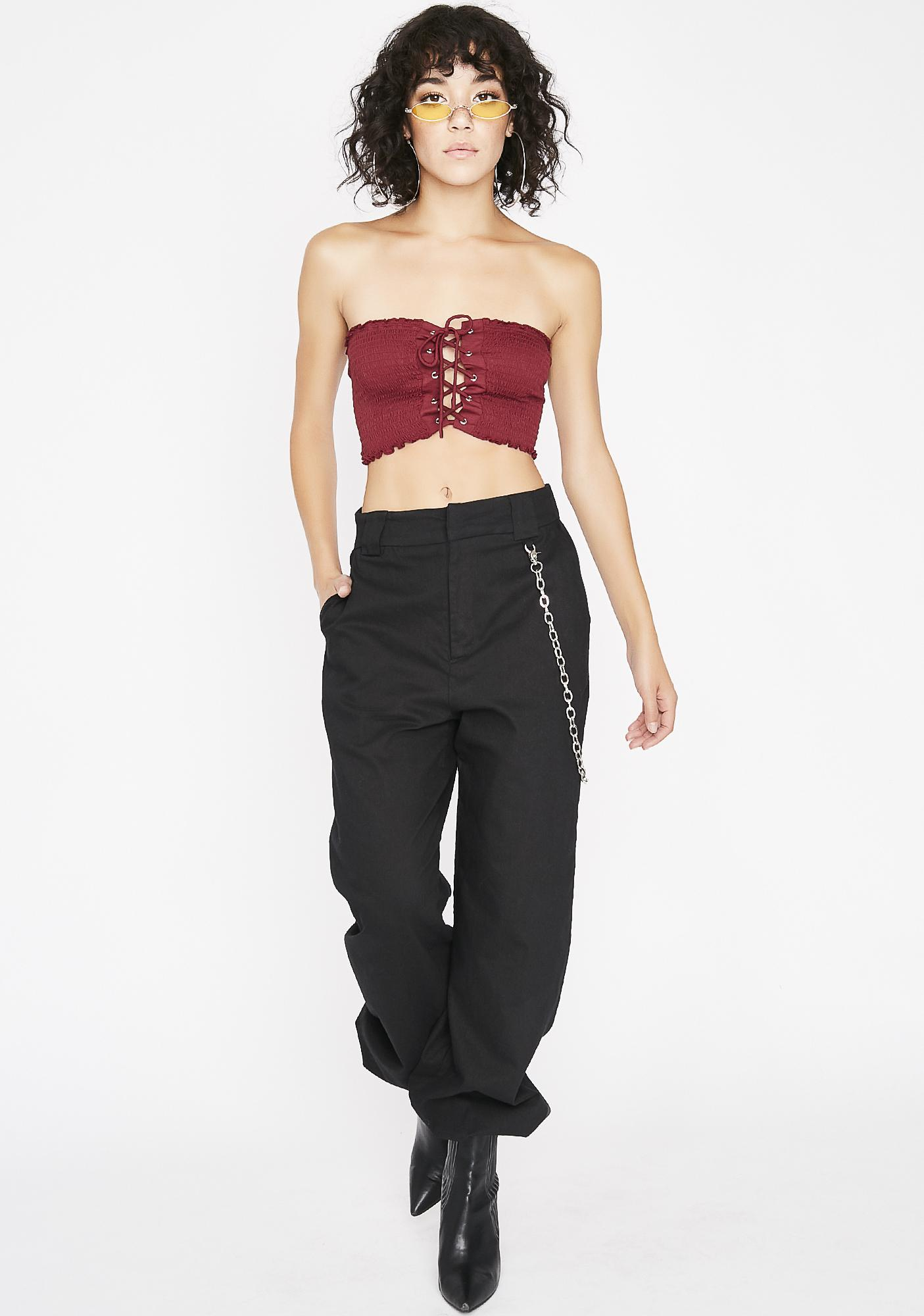 Berry Neva Ending Lace Up Top