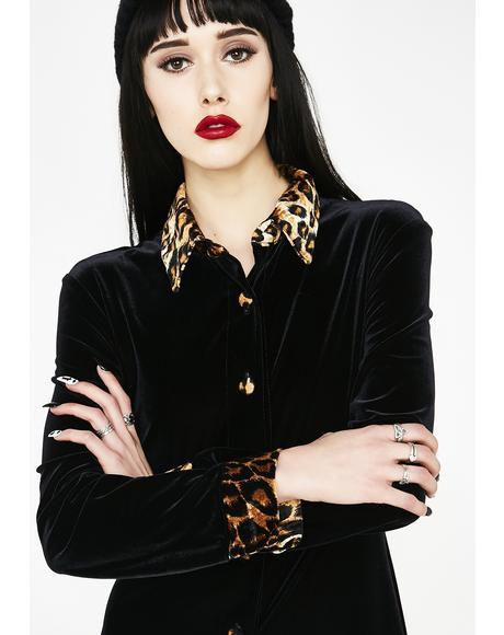 Vintage 90s Leopard Velvet Dress