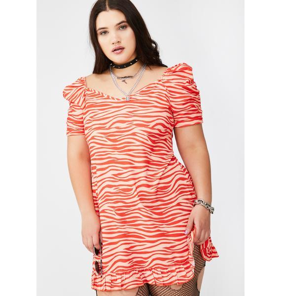 NEW GIRL ORDER Plus Zebra Puff Sleeve Mini Dress