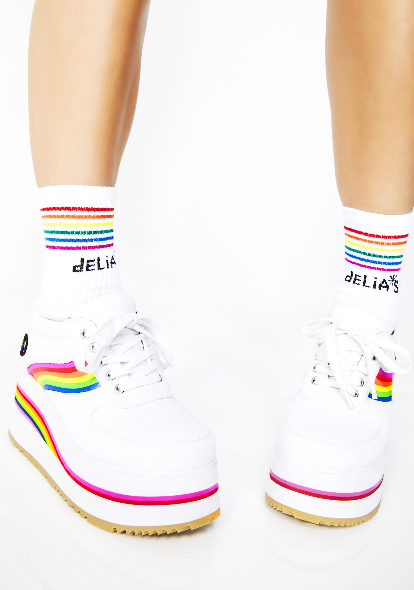 dELiA*s by Dolls Kill Fun All Day Striped Socks