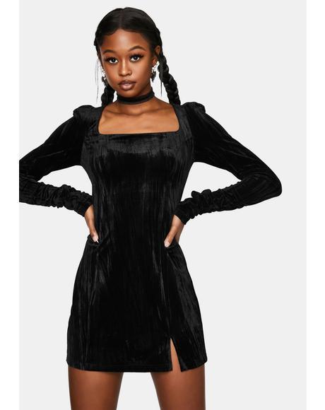 Textured Velvet Square Hip Dress