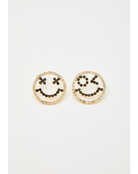 Manic Maniac Smiley Earrings