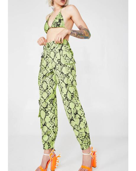 Neon Green Snakeskin Combat Trousers