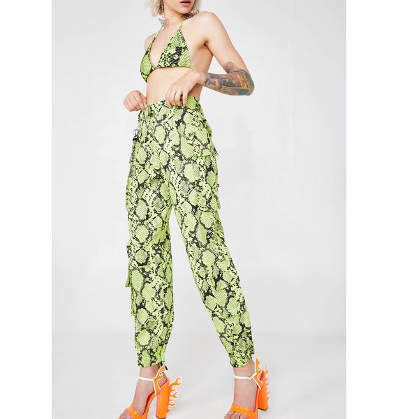 Jaded London Neon Green Snakeskin Combat Trousers