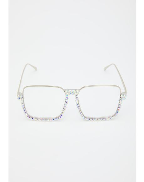 Rude Clarity Rhinestone Glasses
