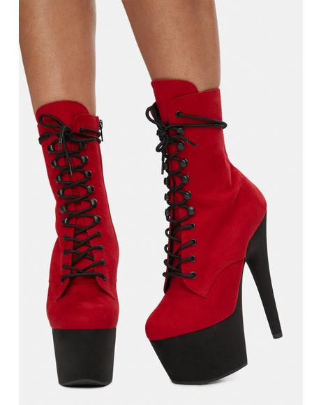 Red Suede Players Club Adore Platform Heels