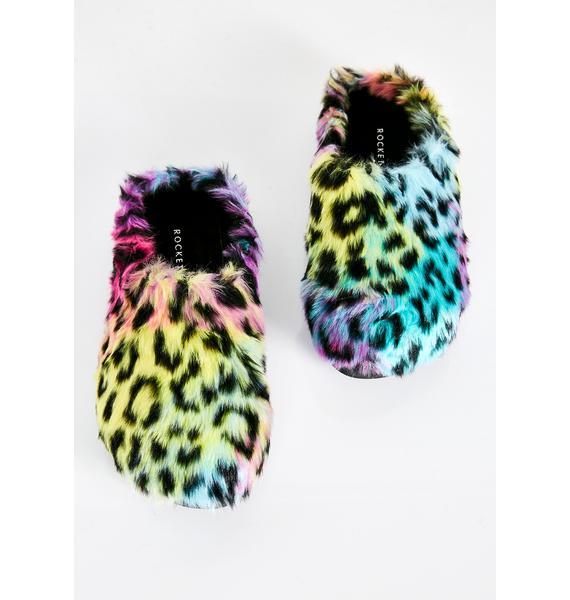 Rocket Dog Harper Leopard Fur Slippers