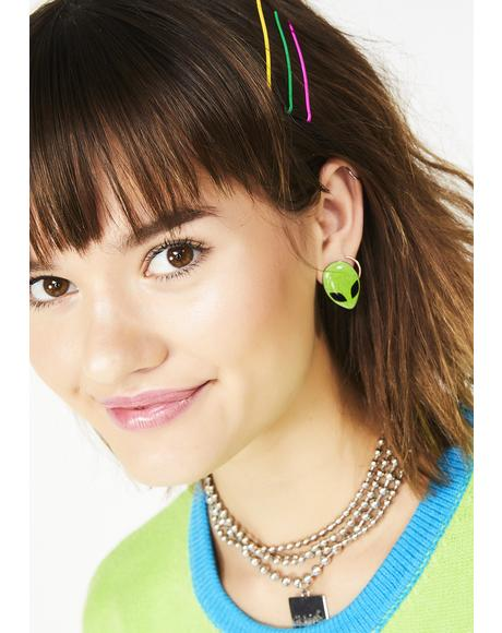 Come In Peace Alien Earrings