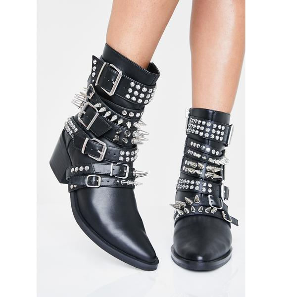 Current Mood Rocked All Over Studded Boots