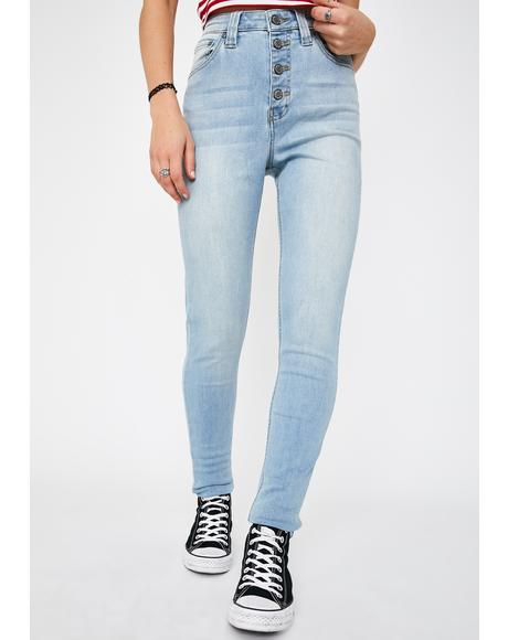 Stone Authentic Exposed Button High Rise Skinny Jeans