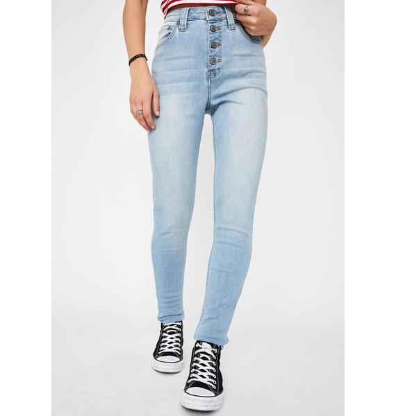 Dickies Girl Stone Authentic Exposed Button High Rise Skinny Jeans