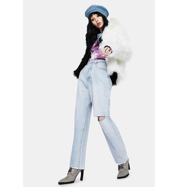 Momokrom Thigh Slash Baggy Jeans