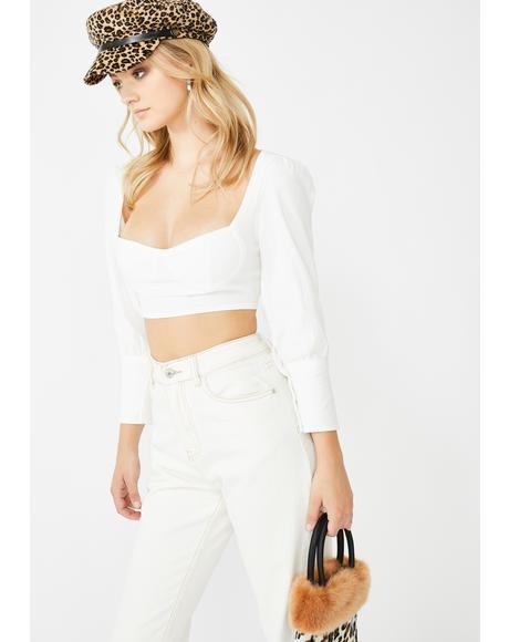 White Cuff Bustier Crop Top