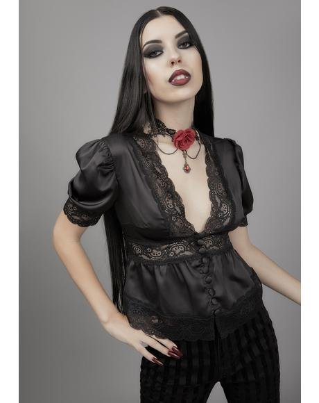 Ghosts Of The Past Satin Blouse