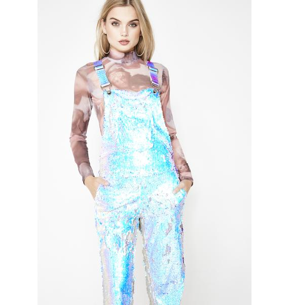 Jackalope Land Unicorn Moonbeam Sequin Overalls