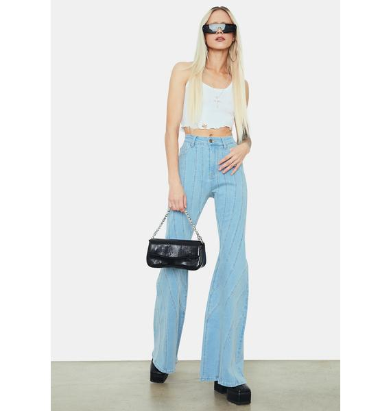 Chill Player Plan Vertical Striped Flared Denim Jeans
